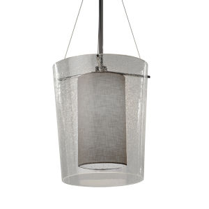 Textile Amani Brushed Nickel and Gray One-Light Pendant