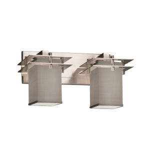 Textile Metropolis Brushed Nickel and Gray Two-Light Bath Vanity