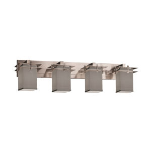 Textile Metropolis Brushed Nickel and Gray Four-Light Bath Vanity
