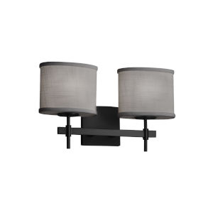 Textile Matte Black and Gray Two-Light Bath Vanity