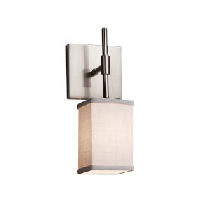 Textile Union Brushed Nickel and White One-Light Wall Sconce