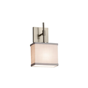 Textile Union Brushed Nickel and White LED Wall Sconce with Rectangle Shade