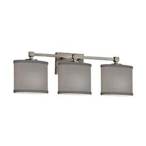Textile Tetra Brushed Nickel and Gray Three-Light LED Bath Vanity