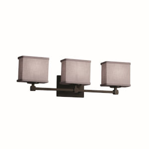 Textile Dark Bronze and Gray Three-Light Bath Vanity