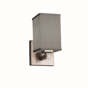 Textile Regency Brushed Nickel and Gray One-Light Square Wall Sconce