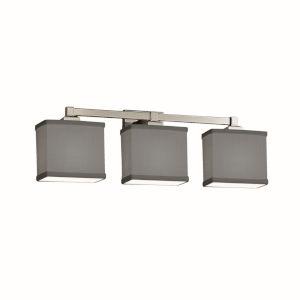 Textile Regency Brushed Nickel and Gray Three-Light LED Bath Vanity