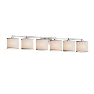 Textile Regency Brushed Nickel and White Six-Light LED Bath Vanity