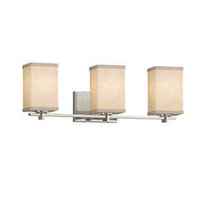 Textile - Era Polished Chrome Three-Light LED Bath Bar with Square Flat Rim Cream Shade