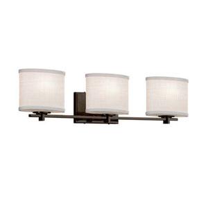 Textile - Era Dark Bronze Three-Light LED Bath Bar with Oval White Shade