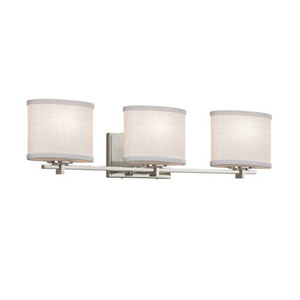 Textile - Era Brushed Nickel Three-Light Bath Bar with Oval White Shade