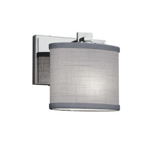 Textile Era Polished Chrome and Gray One-Light Wall Sconce