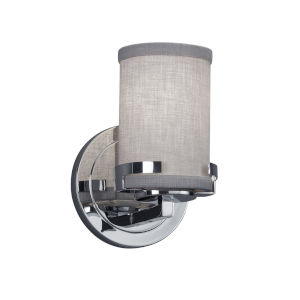 Textile Atlas Polished Chrome and Gray One-Light Wall Sconce