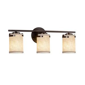 Textile - Atlas Dark Bronze Three-Light LED Bath Bar with Cylinder Flat Rim Cream Shade