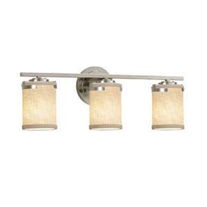 Textile - Atlas Brushed Nickel Three-Light Bath Bar with Cylinder Flat Rim Cream Shade