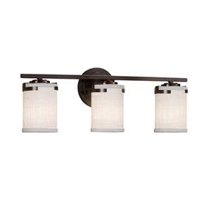 Textile - Atlas Dark Bronze Three-Light Bath Bar with Cylinder Flat Rim White Shade