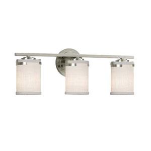 Textile - Atlas Brushed Nickel Three-Light LED Bath Bar with Cylinder Flat Rim White Shade