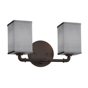 Textile Bronx Dark Bronze and Gray Two-Light Bath Vanity