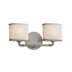 Textile Brushed Nickel and White Two-Light LED Bath Vanity