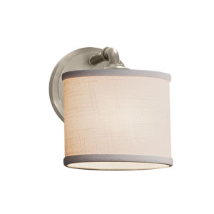 Textile Bronx Brushed Nickel and White LED Wall Sconce