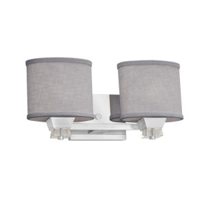 Textile Ardent Polished Chrome and Gray Two-Light Bath Vanity