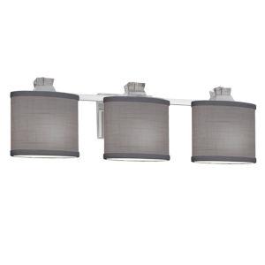 Textile Ardent Polished Chrome and Gray Three-Light LED Bath Vanity