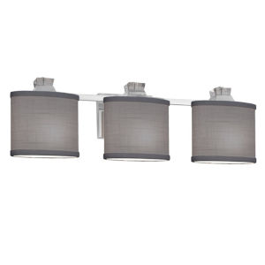 Textile Ardent Polished Chrome and Gray Three-Light Bath Vanity