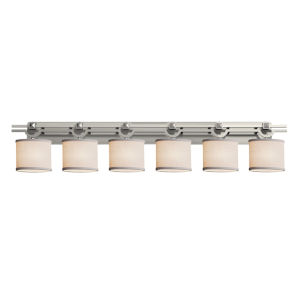 Textile Argyle Brushed Nickel and White Six-Light LED Bath Vanity