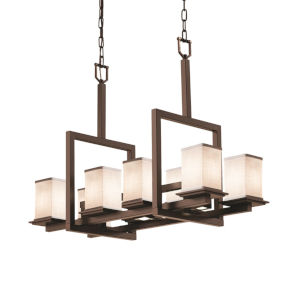 Textile Dark Bronze and White 11-Light Chandelier
