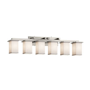 Textile Montana Brushed Nickel and White Six-Light Bath Vanity