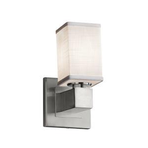 Textile Aero Brushed Nickel and White LED Wall Sconce