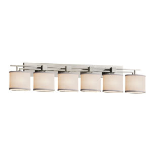 Textile Aero Brushed Nickel and White Six-Light Bath Vanity