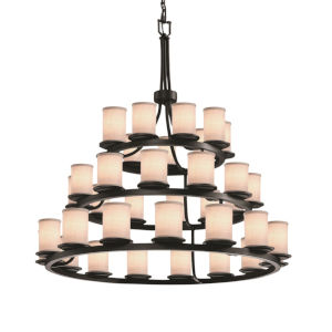 Textile Matte Black and White 36-Light LED Chandelier