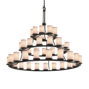 Textile Matte Black and White 45-Light LED Chandelier