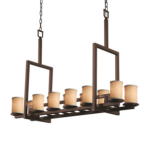 Textile Dakota Dark Bronze 12-Light Downlight Bridge Chandelier