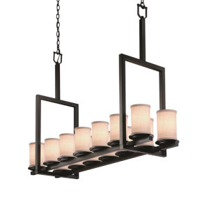 Textile Matte Black and White 14-Light LED Chandelier