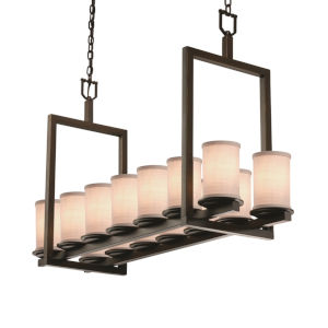 Textile Dark Bronze and White 14-Light Chandelier
