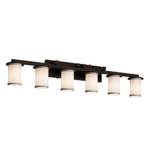 Textile Dark Bronze and White Six-Light LED Bath Vanity