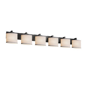Textile Matte Black and White Six-Light Bath Vanity