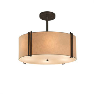 Textile - Reveal Dark Bronze Three-Light LED Drum Pendant with Cream Shade