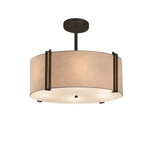 Textile - Reveal Dark Bronze Three-Light LED Drum Pendant with White Shade