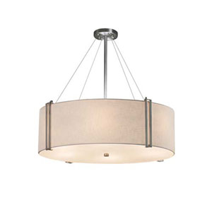 Textile - Reveal Brushed Nickel Eight-Light LED Drum Pendant with White Shade