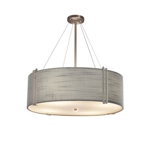 Textile Reveal Brushed Nickel and Gray Eight-Light Pendant
