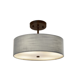 Textile Dark Bronze and Gray Two-Light Pendant
