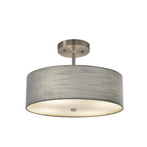 Textile Brushed Nickel and Gray Two-Light Pendant