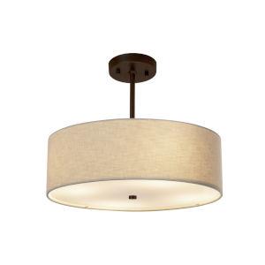 Textile Dark Bronze and Cream Three-Light Pendant