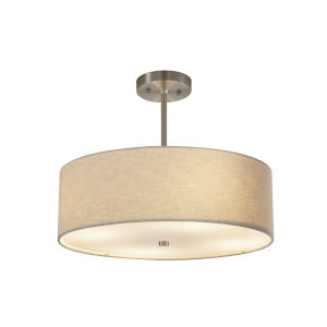 Textile Brushed Nickel and Cream Three-Light Pendant