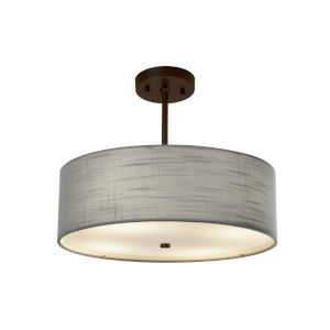 Textile Dark Bronze and Gray Three-Light Pendant