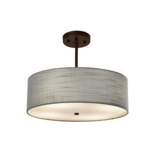 Textile Dark Bronze and Gray Three-Light Pendant