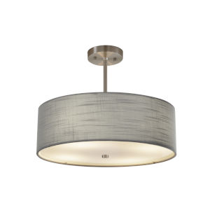 Textile Brushed Nickel and Gray Three-Light Pendant