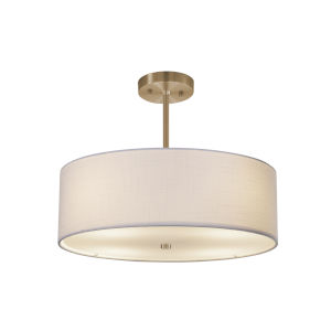 Textile Brushed Brass Three-Light Pendant
